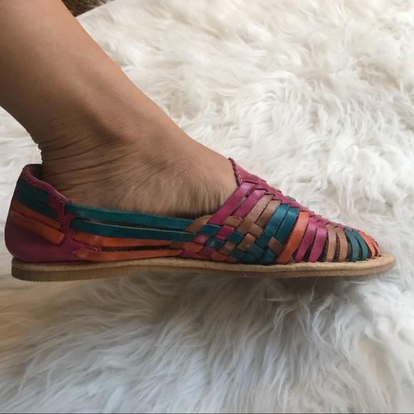 fe9f165e3ae1 Rainbow Leather Huaraches Sandal. M 5ab2d9369d20f09148ab3f66